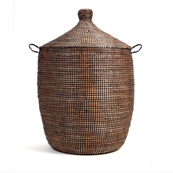 Hand Woven Lidded Basket XL – Black