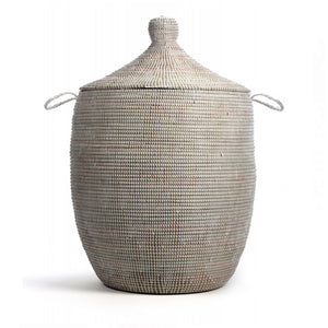 Hand Woven Lidded Basket XL – White