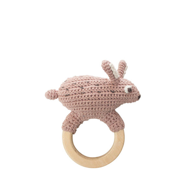 Sebra Crochet Rattle - Snow Rabbit on Ring