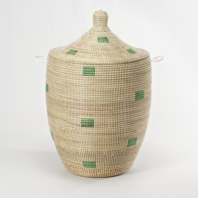 Hand Woven Lidded Basket XL – Square Green