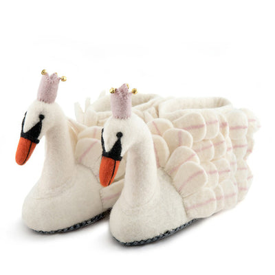 Sew Felt Heart Odette Swan Slippers - Adult