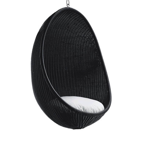 Sika Design Hanging Egg Chair RATTAN from Nanna Ditzel - Matt Black