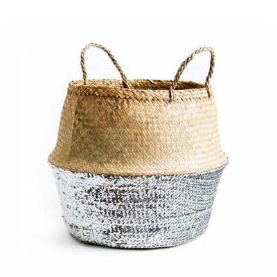 Silver Sequin Dipped Seagrass Basket – Natural