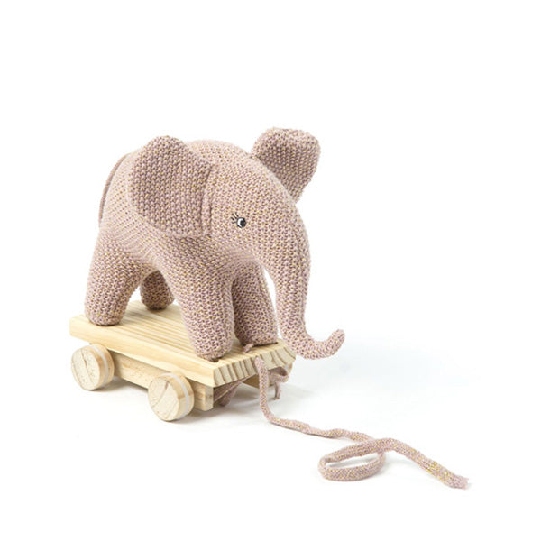 Smallstuff Pull Along Toy Elephant – Rose Gold