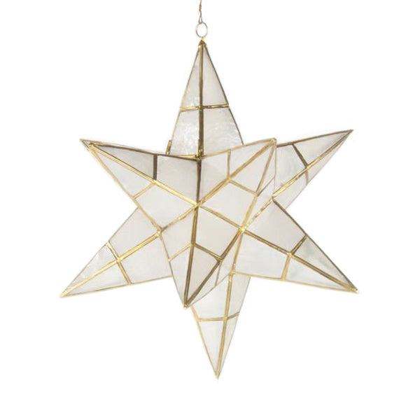Star Polygon Shaped Christmas Ornament - Large - Brass