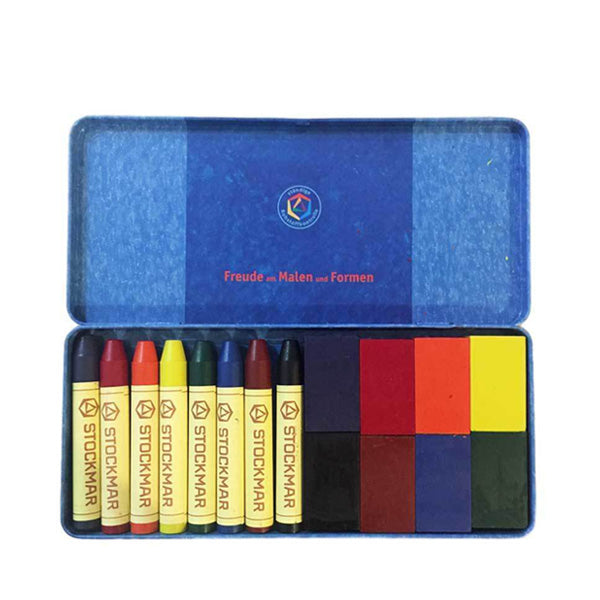 Stockmar Pure Beeswax Crayons - 8 Blocks & 8 Sticks in Tin