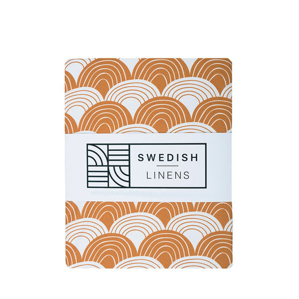 Swedish Linens Rainbows Flat Sheet – Cinnamon Brown