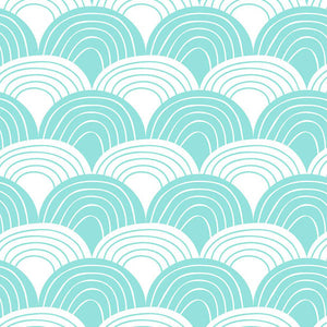 Swedish Linens Rainbows Fitted Sheet – Minty Blue