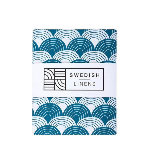 Swedish Linens Rainbows Flat Sheet – Moroccan Blue