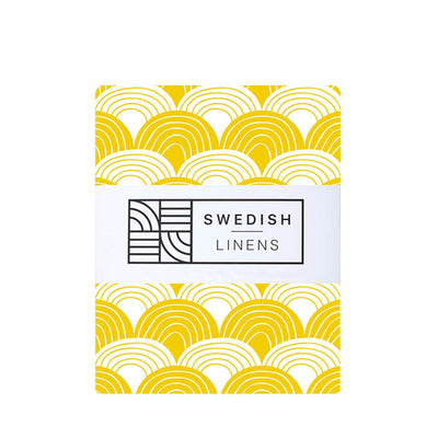 Swedish Linens Rainbows Fitted Sheet – Mustard Yellow