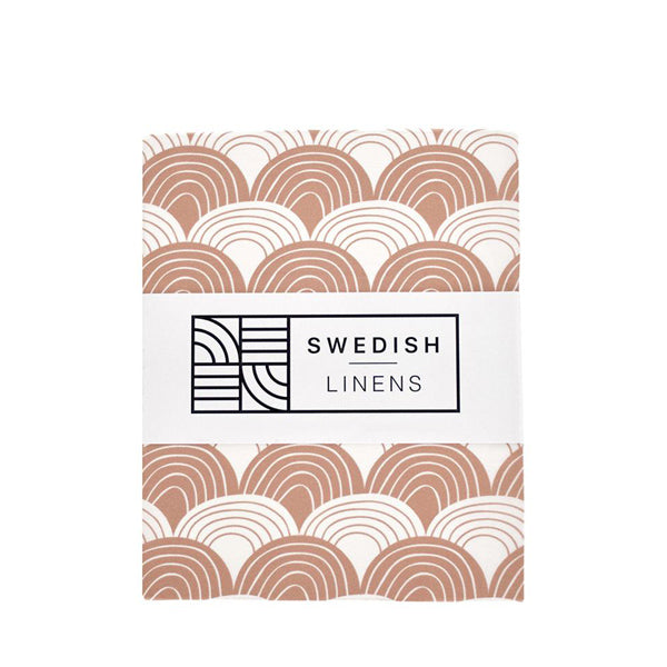 Swedish Linens Rainbows Fitted Sheet – Terracotta Pink