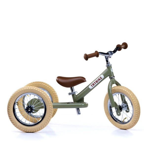 Trybike 2-in-1 Balance Bike Steel - Vintage Green