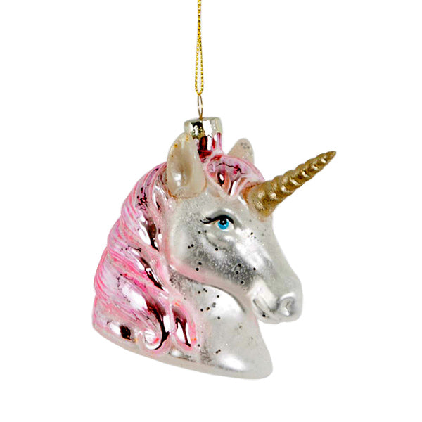 Glass Shaped Christmas Bauble - Unicorn Head