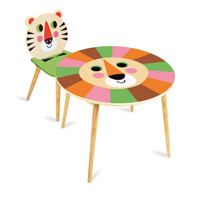 Vilac Ingela P. Arrhenius Lion Table and Tiger Chair Set