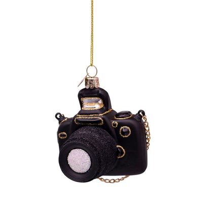 Vondels Glass Shaped Christmas Ornament - Black Camera