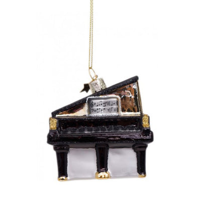 Vondels Glass Shaped Christmas Ornament - Black Grand Piano
