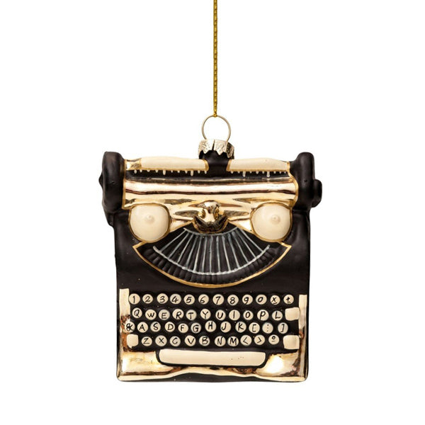 Vondels Glass Shaped Christmas Ornament - Black w/ Gold Typewriter