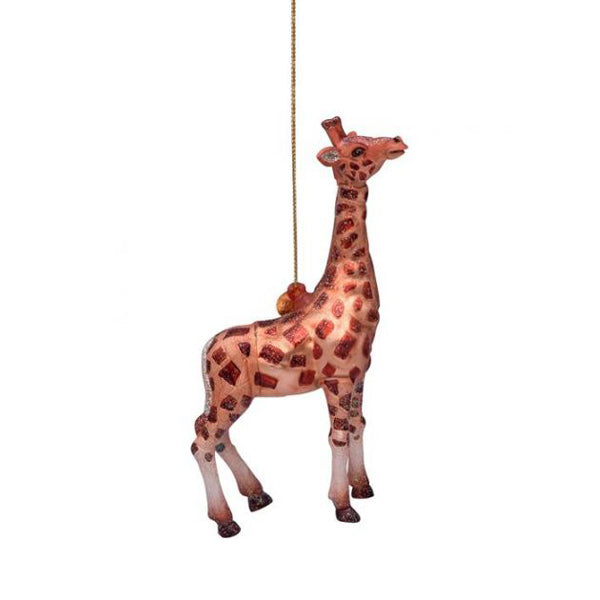 Vondels Glass Shaped Christmas Ornament - Brown Giraffe