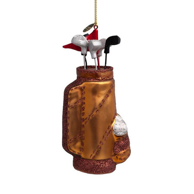Vondels Glass Shaped Christmas Ornament - Brown Golf Bag