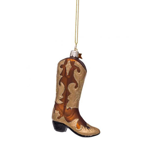 Vondels Glass Shaped Christmas Ornament - Cowboy Boot