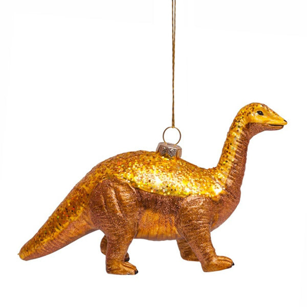 Vondels Glass Shaped Christmas Ornament - Dino w/ Gold