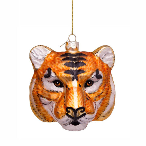 Vondels Glass Shaped Christmas Ornament - Tiger Head Gold/Black
