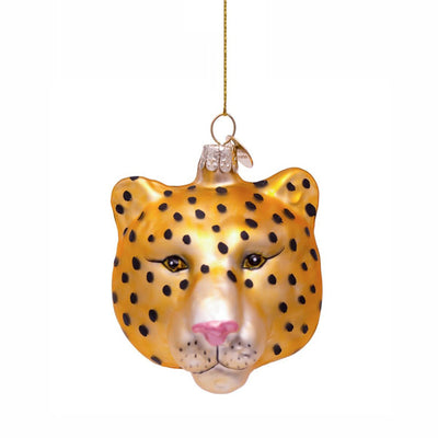 Vondels Glass Shaped Christmas Ornament - Panther Head Gold