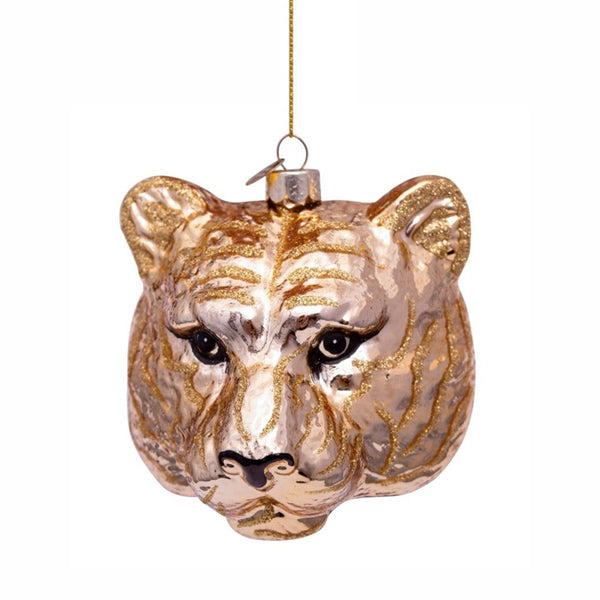 Vondels Glass Shaped Christmas Ornament - Tiger Head Gold