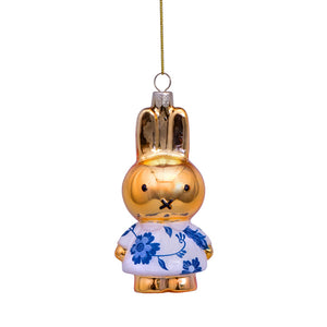 Vondels Glass Shaped Christmas Ornament - Miffy with Delft Blue Dress