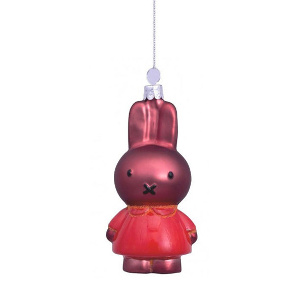 Vondels Glass Shaped Christmas Ornament - Miffy Melanie with Orange Dress