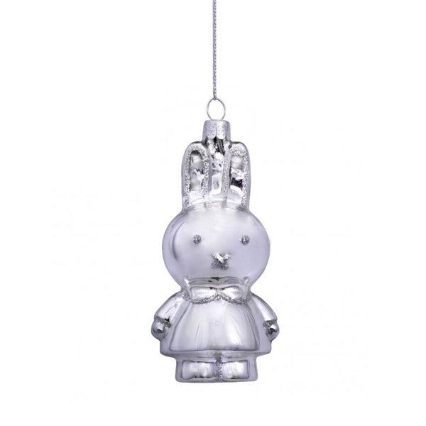 Vondels Glass Shaped Christmas Ornament - Miffy Silver