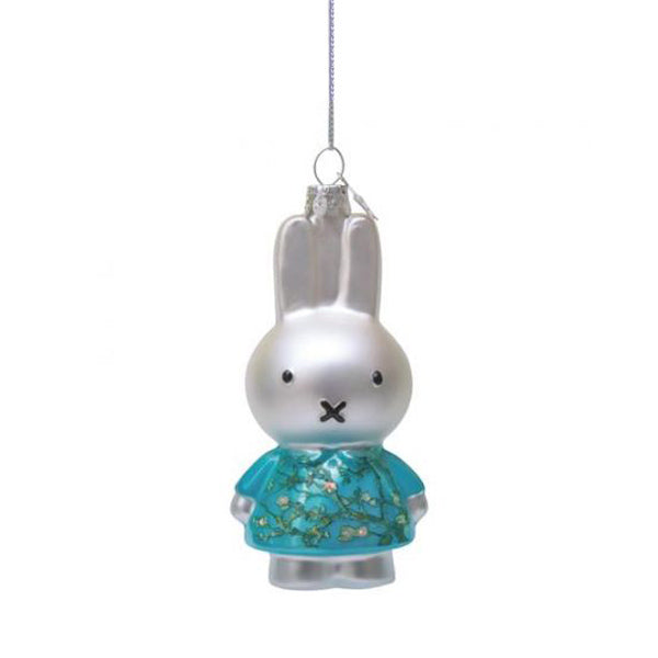 Vondels Glass Shaped Christmas Ornament - Miffy/Van Gogh with Almond Blossom Dress