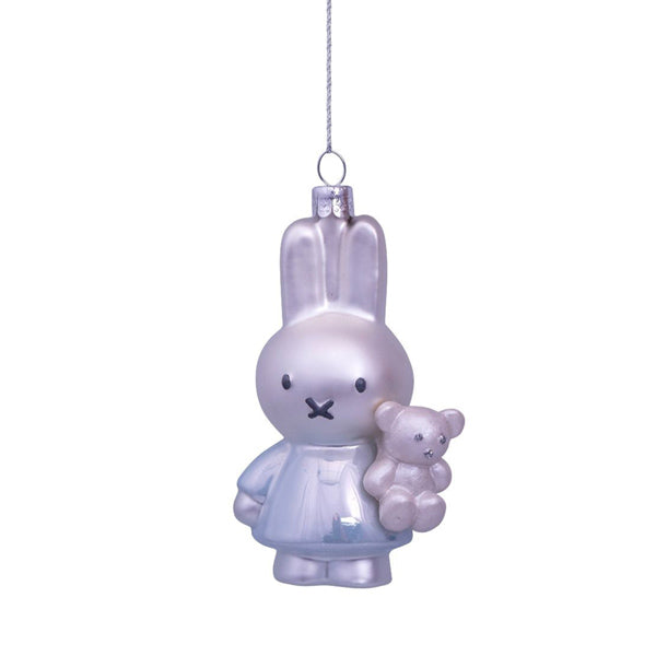 Vondels Glass Shaped Christmas Ornament - Miffy with Blue Dress and Bear
