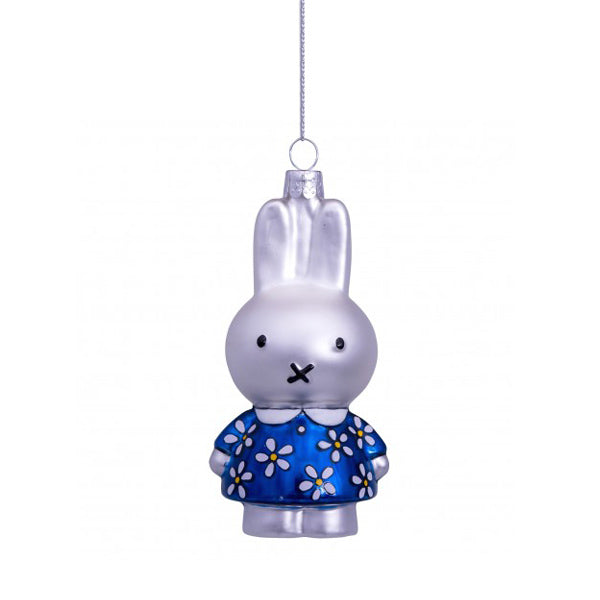Vondels Glass Shaped Christmas Ornament - Miffy with Blue Flower Dress