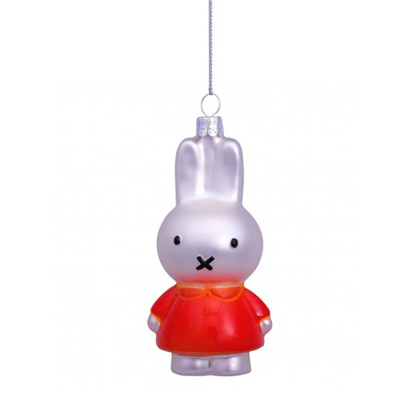 Vondels Glass Shaped Christmas Ornament - Miffy with Orange Dress