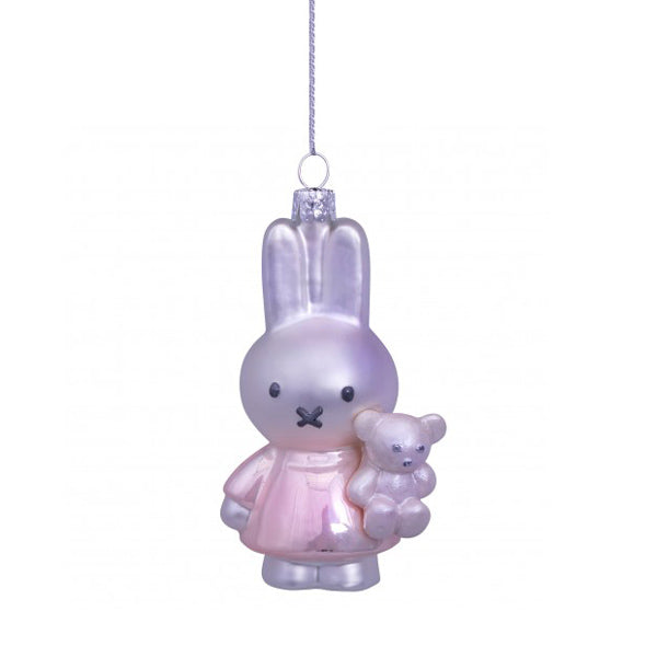 Vondels Glass Shaped Christmas Ornament - Miffy with Pink Dress and Bear