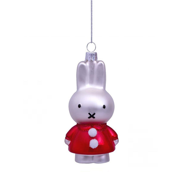 Vondels Glass Shaped Christmas Ornament - Miffy with Red Christmas Dress