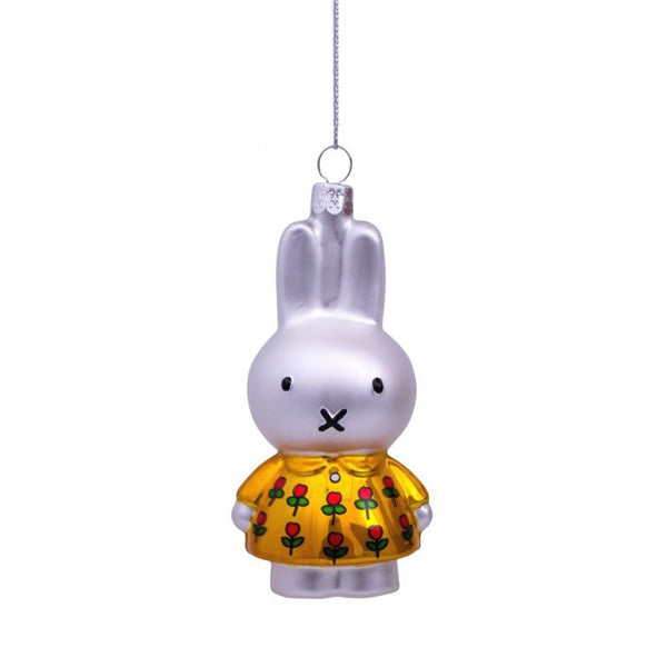 Vondels Glass Shaped Christmas Ornament - Miffy with Yellow Tulip Dress