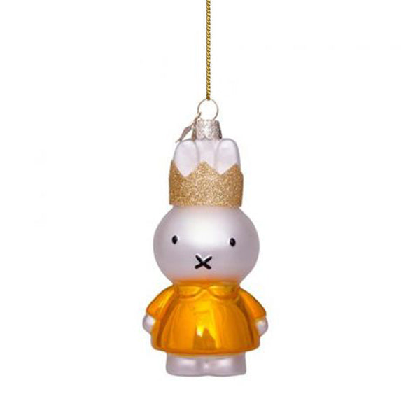 Vondels Glass Shaped Christmas Ornament - Miffy with Yellow Dress and Crown
