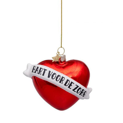 Vondels Glass Christmas Ornament - Red Heart with Text HART VOOR DE ZORG