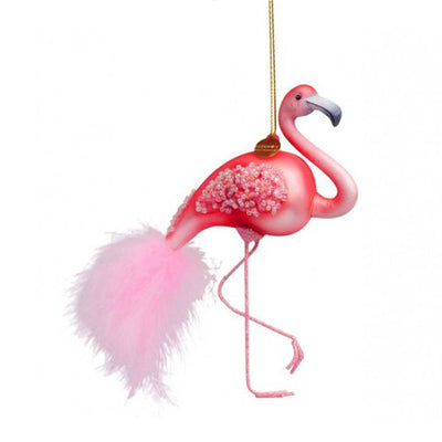 Vondels Glass Shaped Christmas Ornament - Pink Flamingo