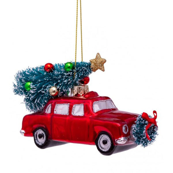 Vondels Glass Shaped Christmas Ornament - Red Car with Christmas Tree