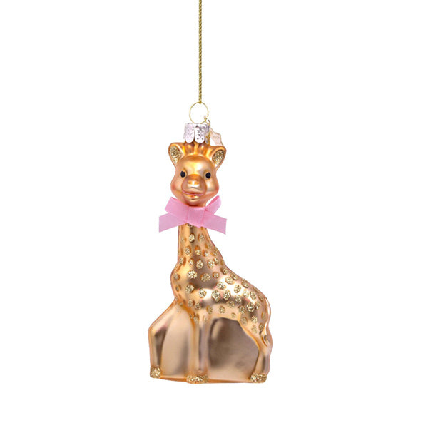 Vondels Glass Shaped Christmas Ornament - Sophie la Girafe Pink Bow