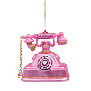 Vondels Glass Shaped Christmas Ornament - Vintage Telephone Pink