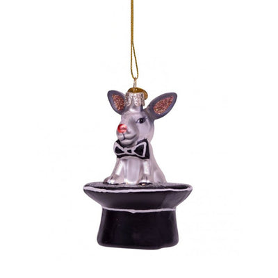 Vondels Glass Shaped Christmas Ornament - White/Black Rabbit and Hat