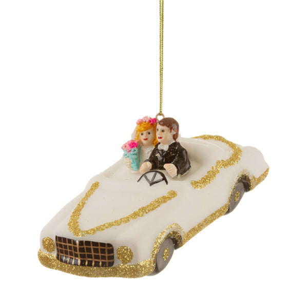 Glass Shaped Christmas Bauble - Wedding Car with Couple