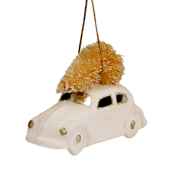 Glass Shaped Christmas Bauble - White Driving Home for Christmas Car