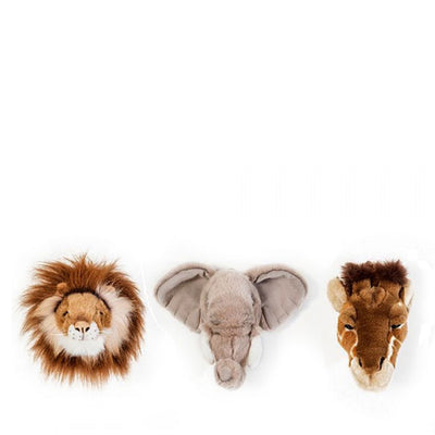 Wild and Soft giftbox with three animal heads wall decoration