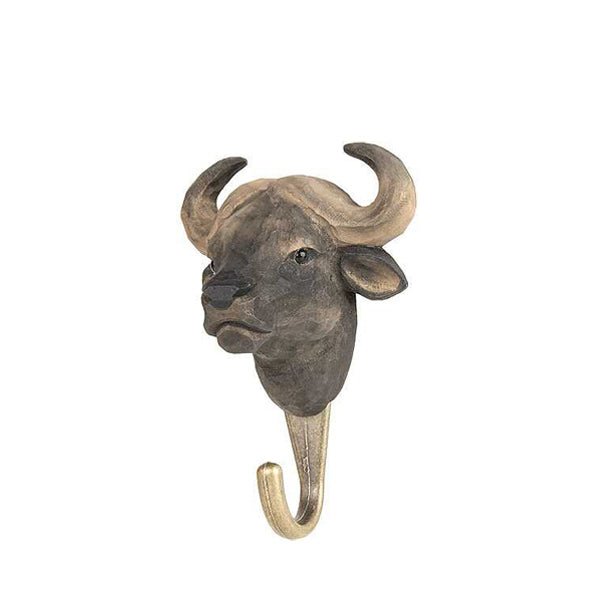 Wildlife Garden Hand Carved Animal Hook - African Buffalo