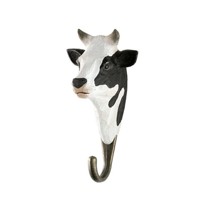 Wildlife Garden Hand Carved Animal Hook - Black and White Cow